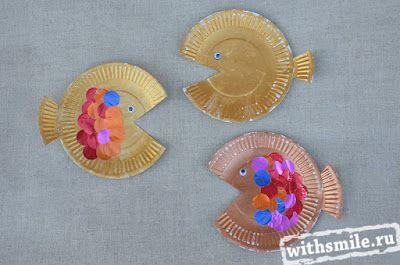 Поделки и рисунки с детьми на морскую тему. Морские обитатели. Поделки из бумажных тарелок. Under the Sea Ocean Paper Plate Craft for Preschool kids. Fish and Sea Horse Animal Kids Craft