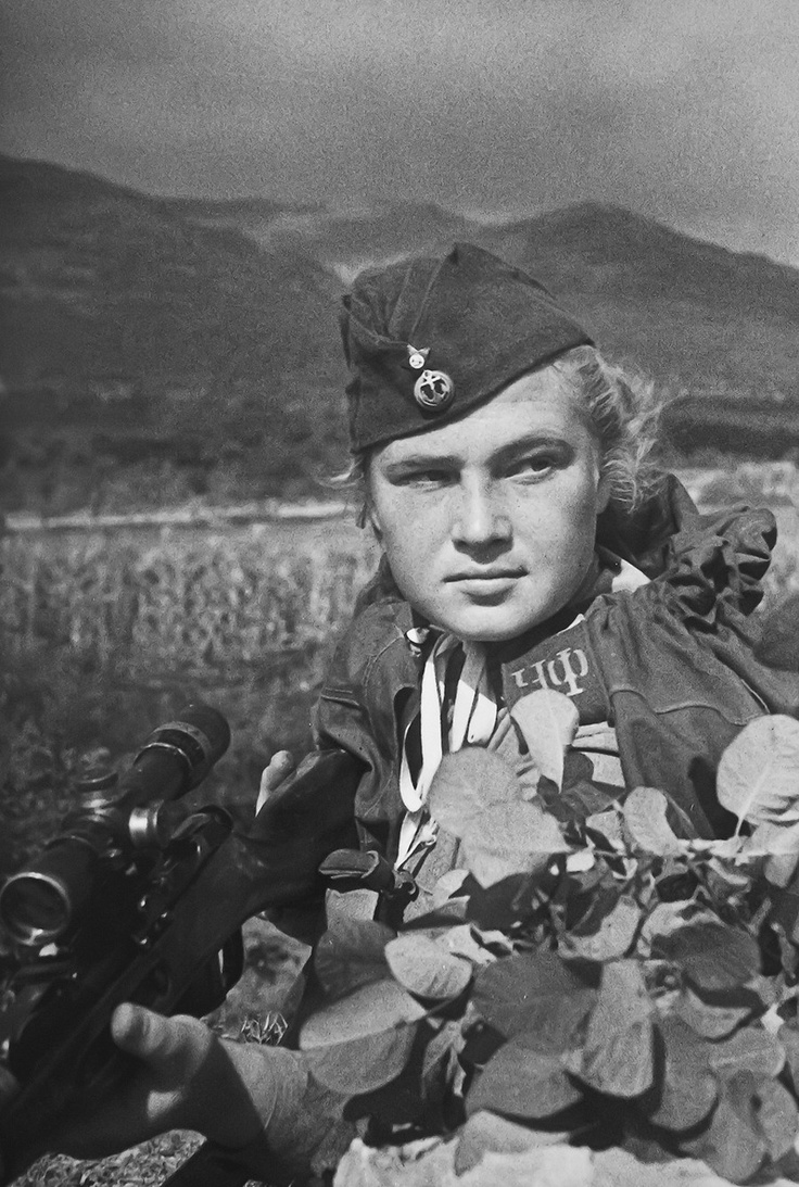 Sniper Senior Red Corporal Yelizaveta Feodorovna Mironova, 255th Marine Brigade Black Sea Fleet, in Novorossiysk. She was credited with 100 confirmed kills. On September 10, 1943, during the Battle of Novorossiysk, she was badly injured; a perforated liver developed into peritonitis and she died in hospital on 29 September at the age of 19.