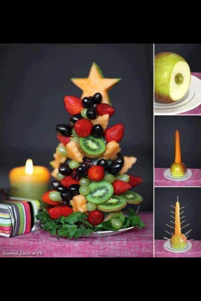 Fruit Christmas tree from a carrot and apple