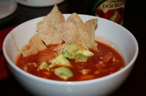 """Homemade Chicken Tortilla Soup Recipe - This is Easy Tomato Soup Made Healthy! Homemade tomato soup will always be healthier even if you take advantage of some modern day conveniences. This recipe is fast enough to fit into our 17-minute meal category. Tomatoes are considered one of the top 10 """"super foods"""" making this popular dish a nutrient powerhouse. http://www.wowyouarereallylucky.com/healthy-recipes/17-minute-meals/chicken-tortilla-soup.htm"""