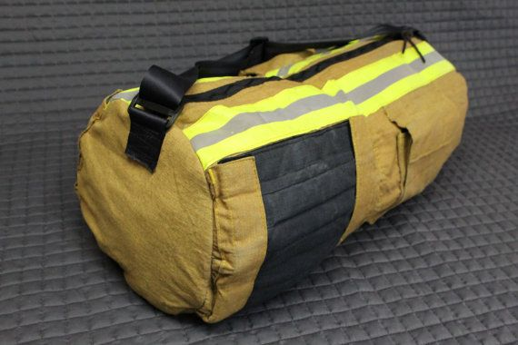 Duffle bag made from repurposed bunker gear