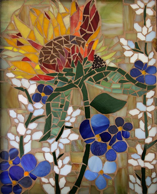 Flora - a mosaic in brilliant blue and golds