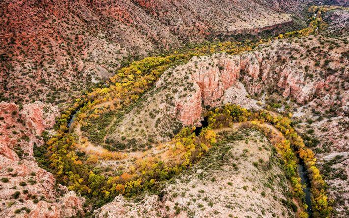 Download wallpapers Sycamore Creek, canyon, mountain river, Arizona, USA, rocks