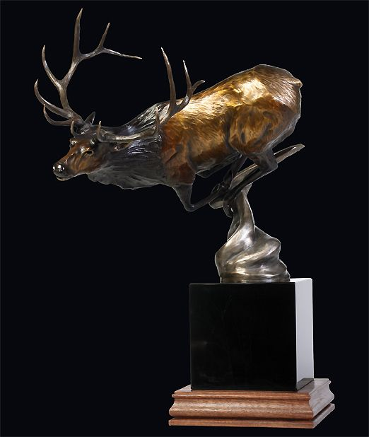 One of my all time favorite bronze sculptures. This Dennis Harrington piece rests at an angle making the elk look as though he were running at top speed. Beautiful. #rfdreamboard