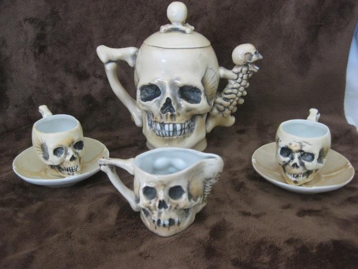Rare Antique Late 1800's SKULLS Fine Porcelain Teapot Tea Cup Saucer & Creamer