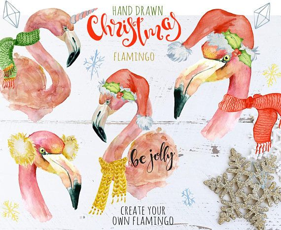 Flamingo watercolor clipart Christmas Flamingo Watercolor Flamingo PNG Flamingo clipart DIY Watercolor clipart Flamingo clipart Xmas Digital #Christmas #Flamingo #watercolor #Clipart
