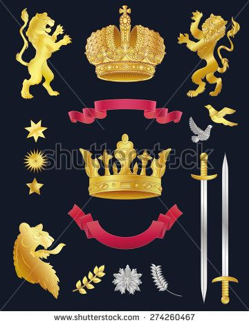 Vector heraldry emblem collection. Coat of arms template. - stock vector