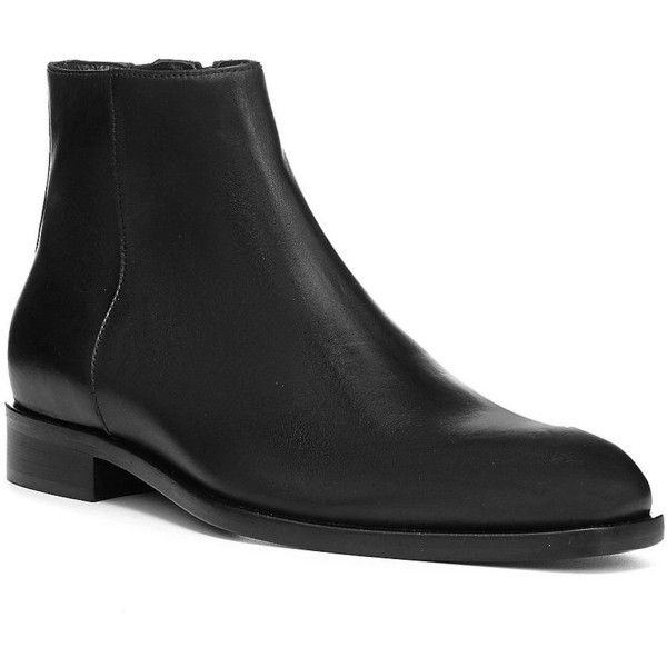 Donald J Pliner Men's Almond Toe Leather Ankle Boots ($300) ❤ liked on Polyvore featuring men's fashion, men's shoes, men's boots, black, mens shoes, mens black ankle boots, mens formal shoes, mens leather ankle boots and mens side zip boots