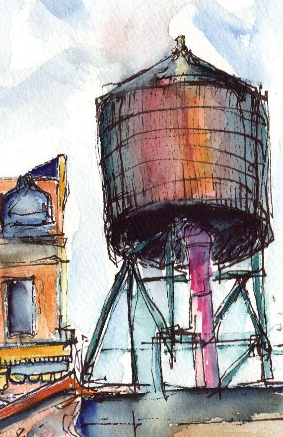 Water Tank Painting : Water tanks manhattan painting watercolor landscape