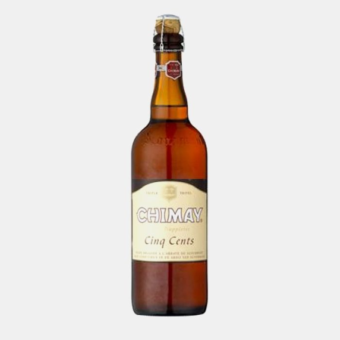 CHIMAY CINQ CENTS (WHITE) 8%  The champagne-cork closure allows this pale, dry ale to mature over time, gaining a complexity that the 33cl bottling never attains