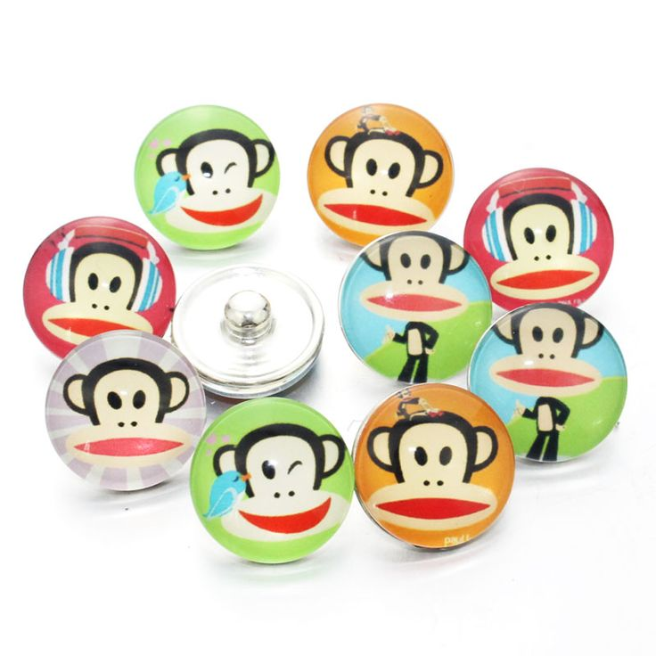 12pcs/lot Mixed Monkey Snaps Jewelry 18mm Snaps Buttons Cartoon Glass Round Fit Snaps Bracelets Snaps Jewelry 7335 #Affiliate