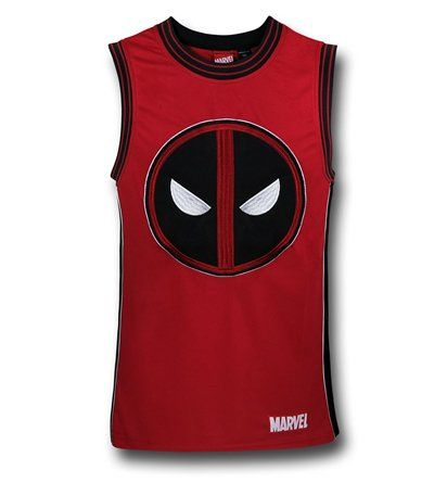 The 100% polyester Deadpool Embroidered Basketball Jersey combines your love of B-Ball with your love of D-Pool! Awww yeah! From Marvel Comics.