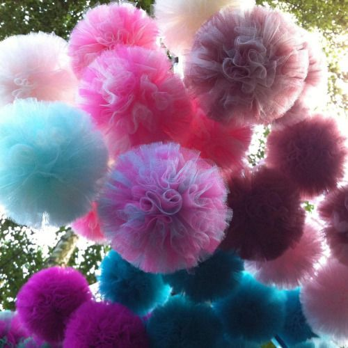 Aliens or tulle pom poms? Doesn't matter as long as it provides nice decoration impression :-) #homedecor #gardenparty #pompom #tulle #tullepompoms #weddingdecor #sewingforkids #handmadewithlove #musthave #musthaves #birthdaygift...