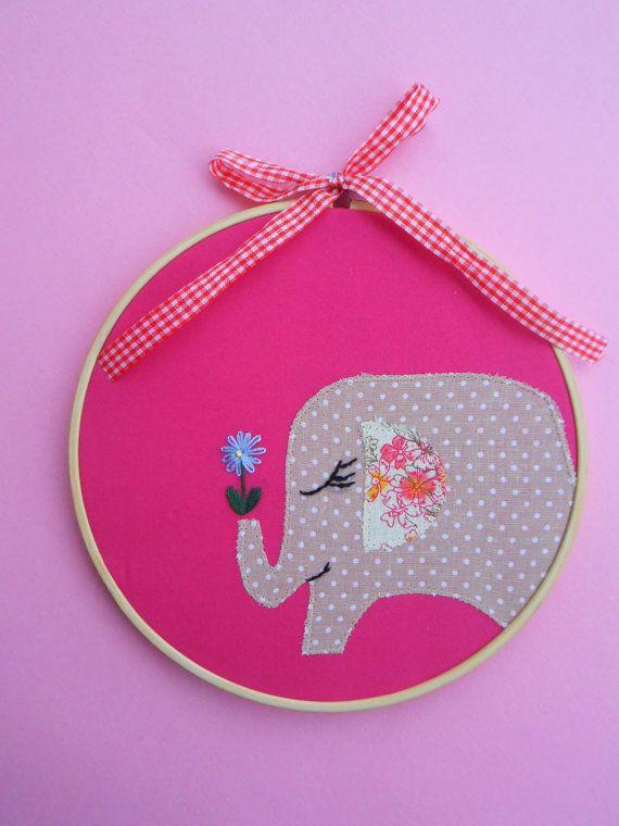 nursery embroidery hoop art baby shower gift children's wall art fabric hand modern embroidery wall hanging elephant hoop art baby decor