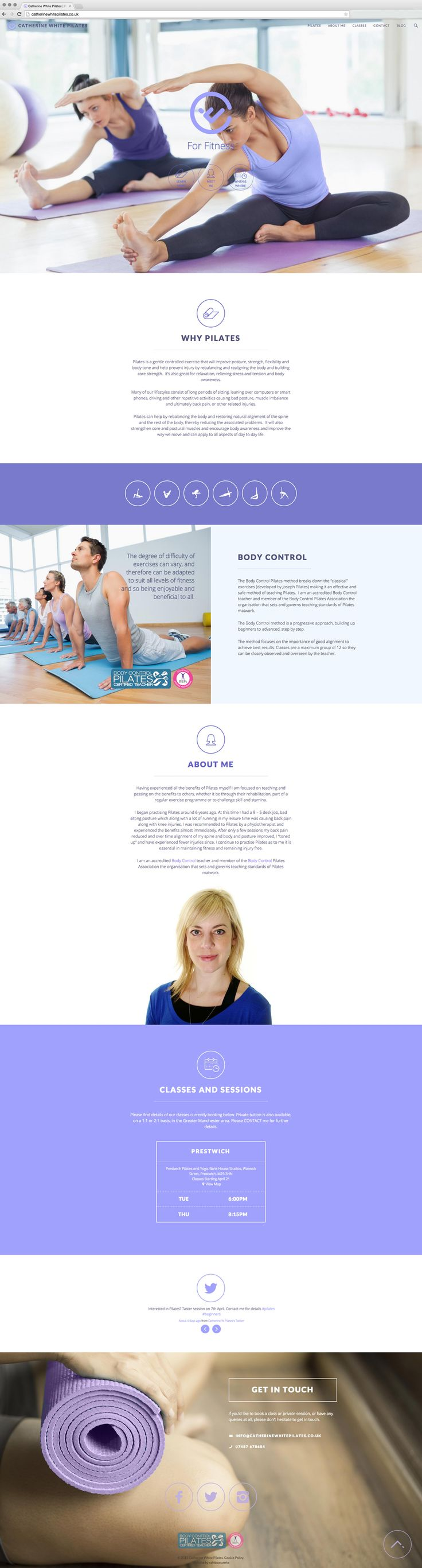 #Pilates One Page Website Design with Blog - by http://rainbowworks.co.uk
