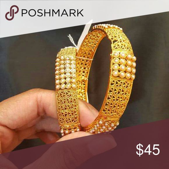Bangles 14K Gold Plated Bangles. Studded with Pearls. Authentic Indian style. Handcrafted design 2 piece Jewelry Bracelets