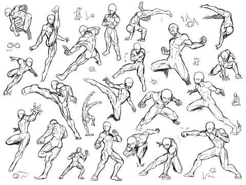 なんか格闘戦っぽい動きのアクションポーズを詰め詰め。アメコミっぽい筋肉質な体形してますwちなみに筋肉の構造は適当なのでご注意を。参考になれば幸いです。