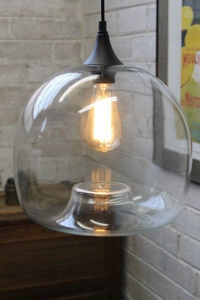 Glass Pendant Light - Large clear glass pendant
