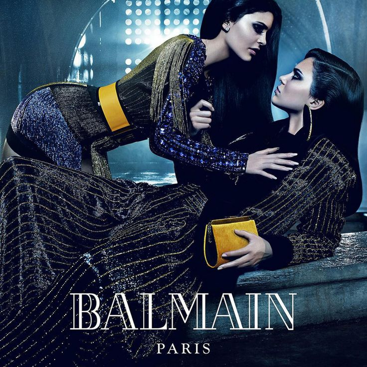 Mario Sorrenti photographs famous sister duos for the Balmain Fall 2015 campaign: Kylie and Kendall Jenner.