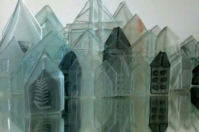 Glass houses - recycled cast glass - 2013 lisa walsh  Waverley glass art studio Glass art