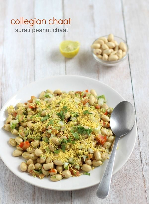 Surati collegian chaat recipe - Delicious lip smacking street food chaat recipe of roasted salted peanuts famous in Surat. collegian chaat recipe.