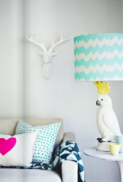 Brightly Coloured, Eclectic Home Decor Ideas - Love the Parrot Table Lamp!