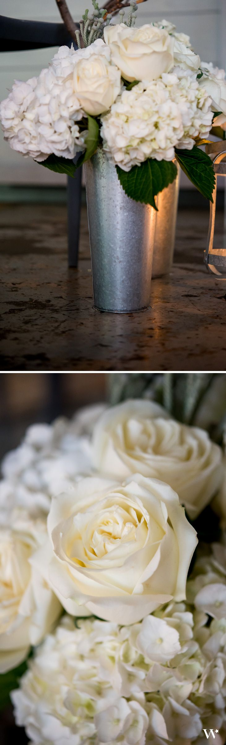 Galvanized Tin buckets are so versatile when it comes to wedding décor. Create an unforgettable look with your Industrial Glam Wedding theme!
