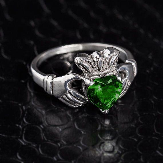 Sterling Silver Claddagh Ring w/ CZ Emerald by CaliRoseJewelry