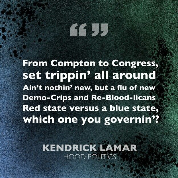 Ik luister meestal naar rap muziek en ik zou niks weten over de bloods en de crips zonder rapmuziek. Ik werd geinspireerd door deze situatie omdat er weinig aandacht aan besteedt wordt. Ik was tijdens dat ik het idee bedacht heel veel naar dit lied te luisteren en zo kwam ik op een citaat terecht die mij wakker schudden. Omdat je hier te horen krijgt hoe gelijk die situaties zijn tussen de bloods en de crips en democraten en republikeinen.