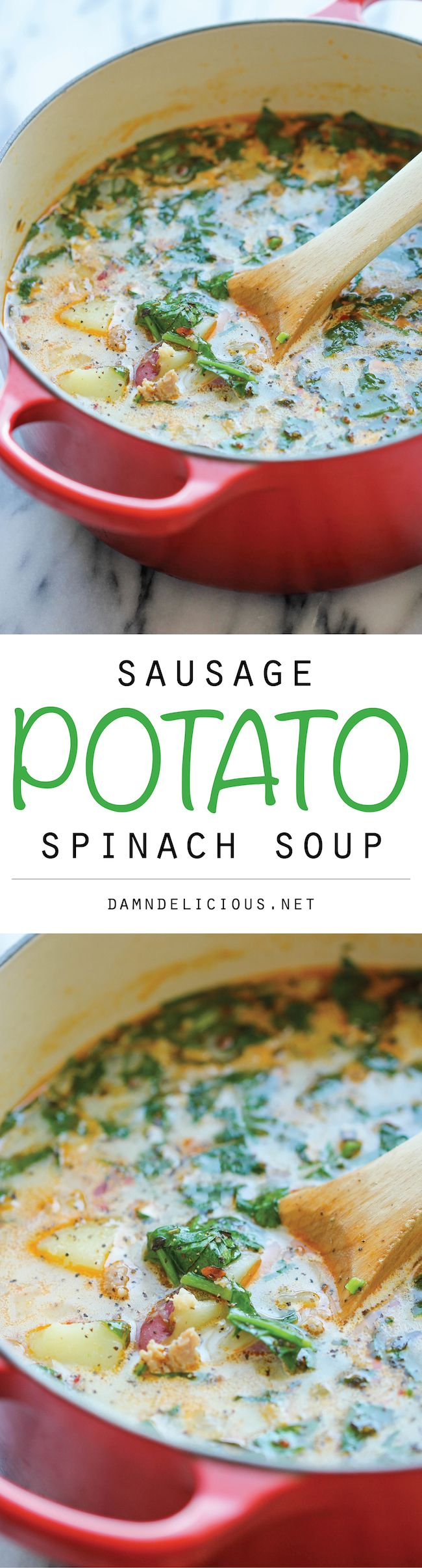 Sausage, Potato and Spinach Soup - A hearty, comforting soup . Was a little spicy, so next time I will use less of the red pepper flakes. Very good soup.