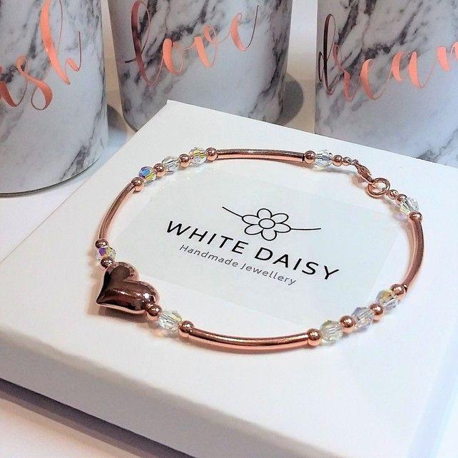 Rose gold heart bracelet with a sparkle of Swarovski £32.00