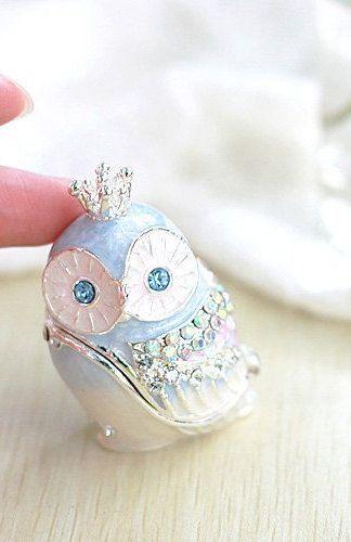Beautiful Crown Owl Jewelry Box