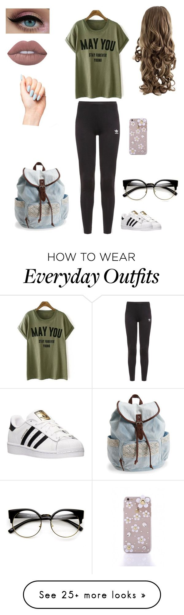 """""""Everyday Outfit <33"""" by xdalena on Polyvore featuring adidas Originals, adidas, Lime Crime and Aéropostale"""