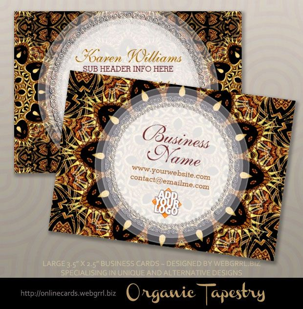 Organic Tapestry Earthy Gold Business Cards by webgrrl | onlinecards