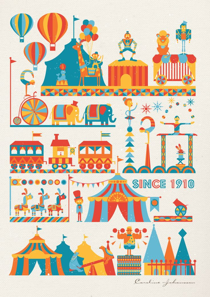 Circus Print by Caroline: What kid wouldn't love this on the wall? #Circus_Print #Caroline