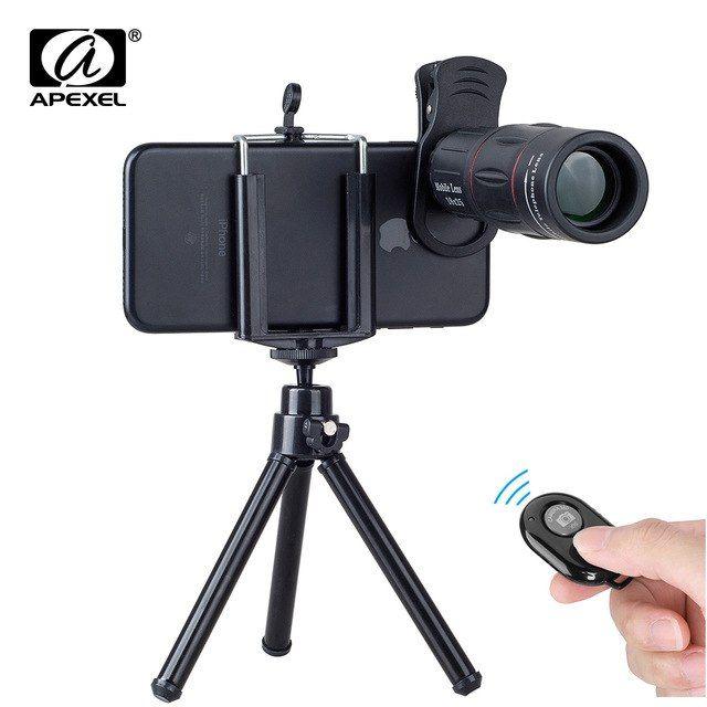 4b760a115c44fb APEXEL Mobile Phone Lenses 18X Telescope Monocular Zoom Camera Lens for  iPhone 7 Samsung s8 with tripod
