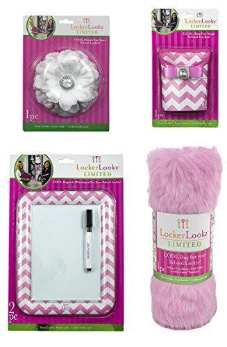 pink white locker accessories item bundle one storage bin flower school decorations uk amazon at walmart