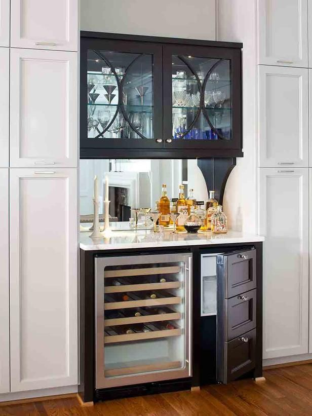 Transitional Kitchens from TerraCotta Properties on HGTV wine cooler and glassware cabinet by frig?