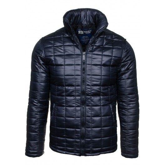 Pánske zimné bundy tmavomodrej farby - fashionday.eu