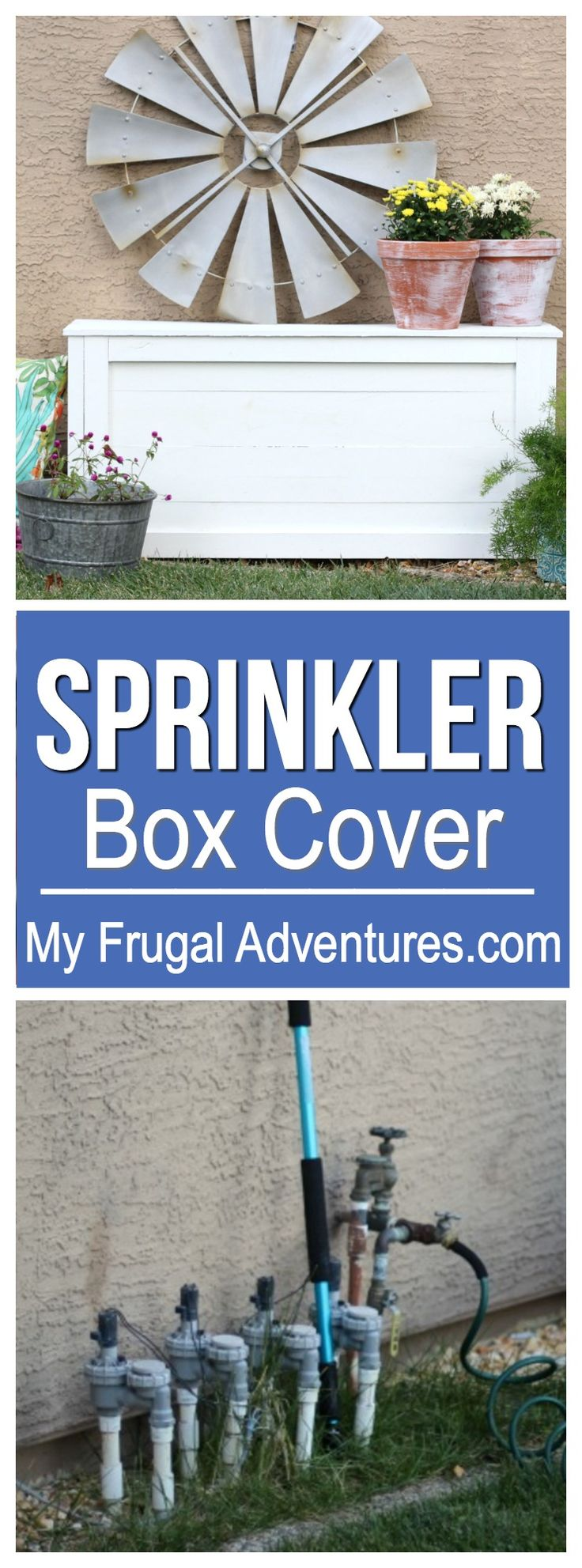 Hide those ugly sprinkler valves with this simple, lightweight cover.  Small project that makes a big difference.
