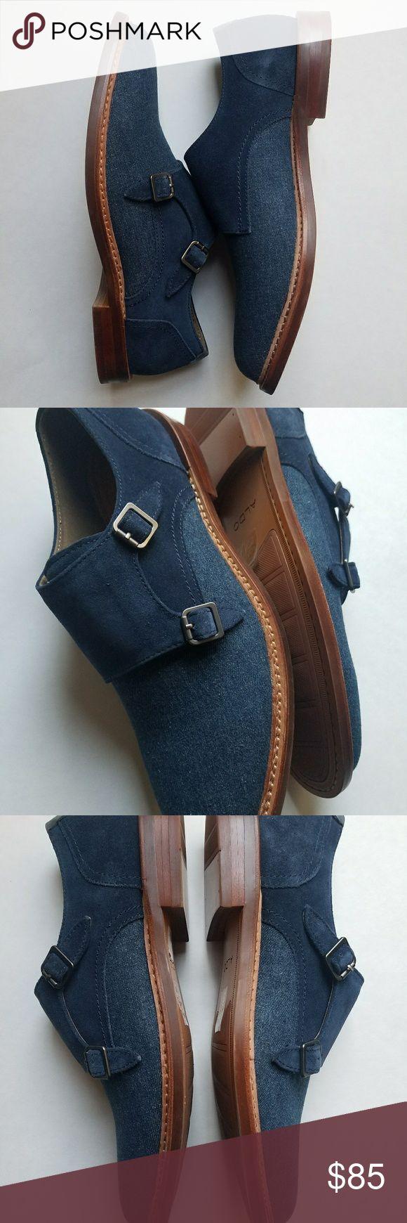 Aldo Chigodda NAVY - Two-Tone Finish in Leather and Suede - Monk Strap Shoe - ELEGANT - COMFORTABLE  -TTS Aldo Shoes
