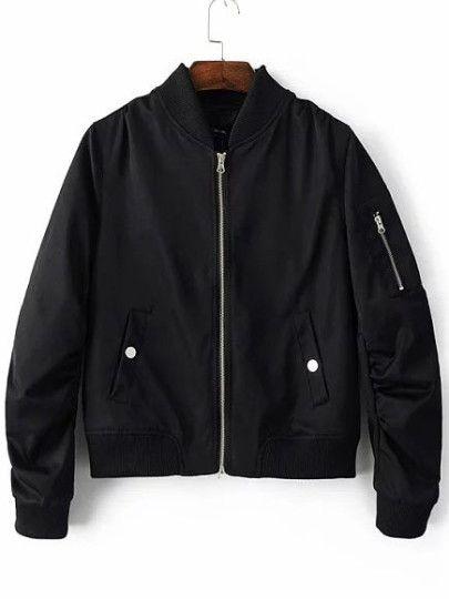 Veste aviateur zippé avec poches - noir
