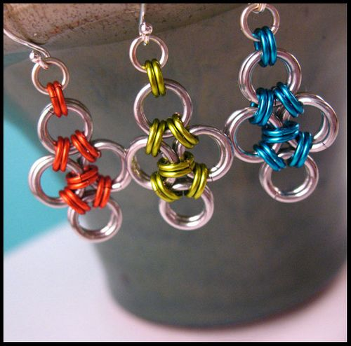 Spring Brights - Japanese Chainmail earrings by RedPandaChainMail, via Flickr