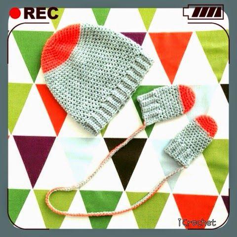 iCrochetstuff: Oranje mutsje en handschoentjes haken met patroon voor baby vanaf 2 maanden - Crochet pattern baby hat and mittens