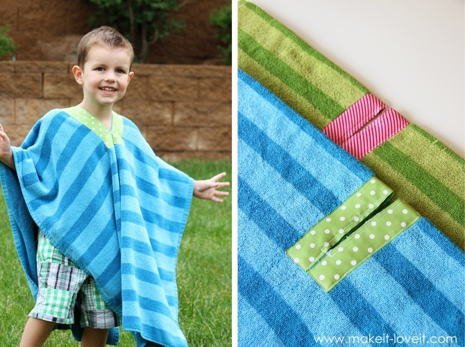 Pool/Bath Towel Poncho. All you need is a towel, some ribbon, scissors and your sewing machine. So simple it's genius.