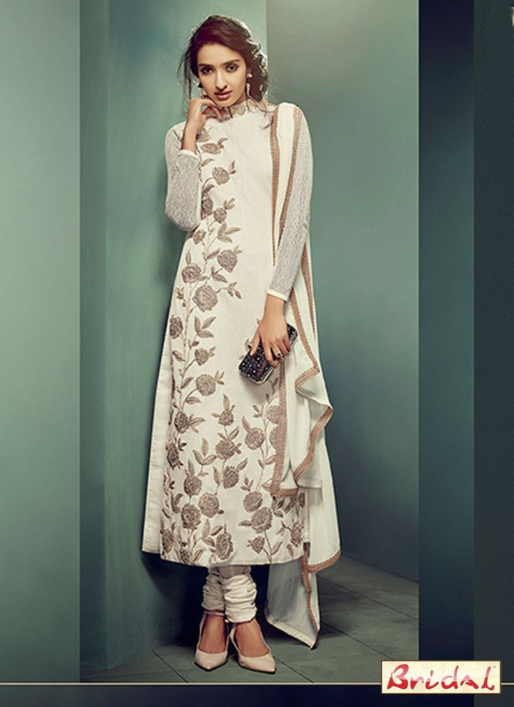 Add a young burst of shade for the wardrobe with this cream net designer straight salwar kameez. This wonderful attire is displaying some great embroidery done with embroidered and resham work. Comes ...