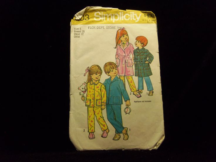 Child's Robe and Pajama Pattern Simplicity 5103 1970s sewing patterns retro clothing vintage clothing sewing Child's size 6