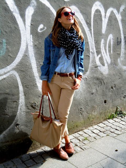 Check blouse and dots scarf