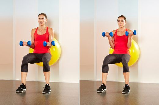 2. Stability-Ball Biceps Curls / Do 3-5 sets of 10 rep