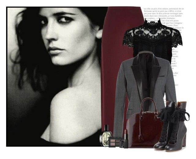 """31/50. Eva Green"" by chezamanda ❤ liked on Polyvore featuring River Island, Alice + Olivia, The Kooples, Louis Vuitton, Chloé, Diptyque, NARS Cosmetics, date, celebrity and challenge"